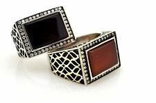 TURKISH OTTOMAN BLACK ONYX RED AGATE  925 STERLING SILVER RING 9.5,11.25 USA