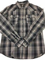 Levi's Modern Shirt Caviar Long Sleeve Plaid Pearl Snaps Gray Black Men's S NEW