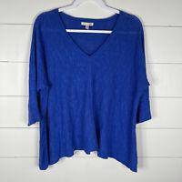 Eileen Fisher Womens Blue Size M Short Sleeve Batwing V-Neck Linen Blend Sweater