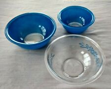 Pyrex Mixing Bowls 322, 323 Blue and Clear Floral Lot of 3