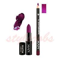 NYX Matte Lipstick ARIA MLS30 and Slim Lip Liner Purple Rain Set