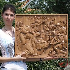 """24"""" Nativity, Birth of Jesus Orthodox Wooden Carved Icon Large. Christian Gift."""