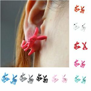 3D Front Back Ohrringe Hase Bunny Ohrstecker Earring in 9 Farben