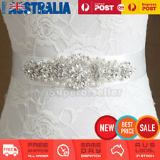 Rhinestone Crystal Pearl Wedding Bridal Dress Bride Gown Sash Belt Satin Ribbon