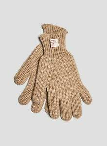Nigel Cabourn Wool Ribbed Goalie Gloves in Stone