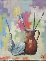 Peinture  huile sur toile POT AVEC PINCEAUX signée à déchiffrer