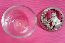 Seagull Canada 1988 Glass Bowl / Dish Pierced Pewter Lid Feline & Floral design.