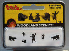 Woodland Scenics N Scale Black Bears figure animal cub standing wild Wds2186 New