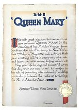 Cunard Rms Queen Mary Ocean Liner Ship Maiden Voyage Captain Signed Certificate