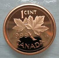 1999 CANADA 1 CENT PROOF PENNY HEAVY CAMEO COIN