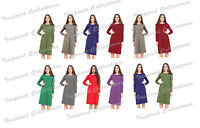 Ladies Womens Franki Long Sleeves Swing Flared Midi Skater Dress Top Plus Size