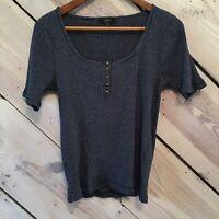 J.Crew Womens Medium Top Crinkle Stretchy Cotton Scoop Neck Short Sleeve T-Shirt