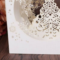 3D Tree Box Handmade Merry Christmas Card Gift Snowflake Pop Up Greeting Card