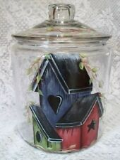 HP BIRDHOUSE COOKIE JAR/CANISTER-GLASS NEW BY MB