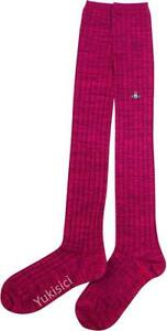 Vivienne Westwood Japan Over Knee High Socks +Orb-Wine Red-Size 23-24cm