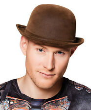 STEAMPUNK VICTORIAN BROWN BOWLER HAT MENS LADIES ADULT FANCY DRESS DELUXE NEW