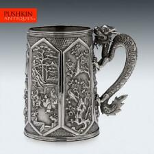 More details for antique 19thc chinese export solid silver dragon mug, cumshing c.1870