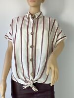 River Island Striped Boho Elegant Casual Linen Shirt Blouse Top Size 8 - 10