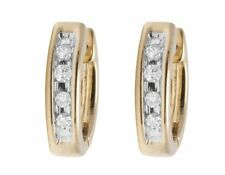 Unisex 10K Yellow Gold Real Diamond 10MM Baby Huggie Hoop Earrings .05ct