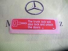 Neu orig. Aufkleber Mercedes central locking system ZV W124 W126 W140 W201 USA