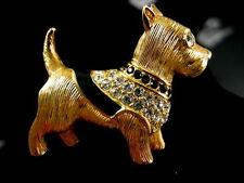 Signed Swarovski Scottie Dog Pin /Brooch Retired Rare