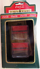 COKE Brand TOWN SQUARE PARK BENCHES Christmas Village Accessory in Box # 64319