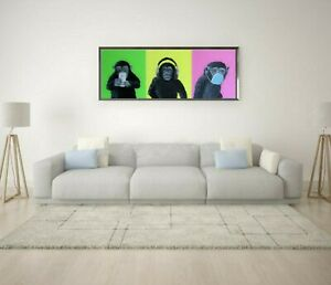 """Banksy in the style of Chimps Signed Original """"Hear,See,Speak no evil."""""""