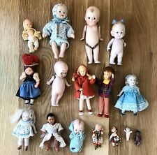 Lot of 16 SMALL TINY ANTIQUE VINTAGE BISQUE Celluloid Dolls - Kewpie