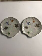 Set of 2 LIPPER & MANN Golden Leaf Snack Plates NO CUPS Made in Japan
