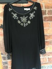 Cotton Club Little Black Dress Embellished With Sequins/beads VGC 10/12