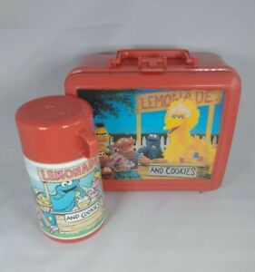 Vintage Sesame Street Deli Red Aladdin Plastic Lunch Box with Thermos see photos