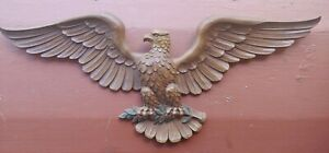 Vintage Mid Century Syroco American Eagle wood tone Wall Hanging  21.5 in. 1963