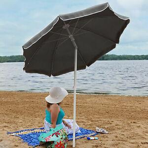 Sunnydaze Beach Umbrella w/ Tilt Function & Shaded Comfort - Gray - 5'