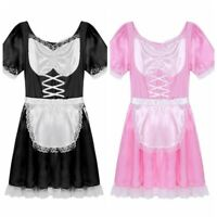 Adult Mens Sexy French Maid Uniform Fancy Dress Costume Outfit Halloween Party