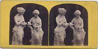 Psiche E Pandora Foto Da Scultura Expo Parigi 1867? Stereo Vintage Albumina