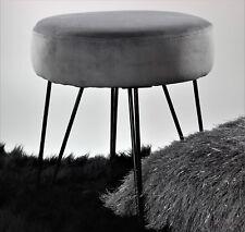 Dusky Grey Velvet Fabric Padded Foot Rest Sitting Stool Chair Furniture Office