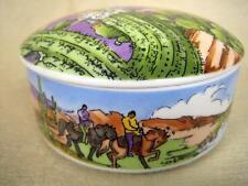 "1994 TIFFANY Southwestern Motif Porcelain 4"" Round Lidded Trinket Box"