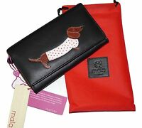 Mala Leather ladies cute quirky sausage dog purse flapover soft leather Black