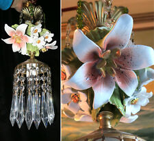 Porcelain Pink Lily Dogwood Capodimonte Brass tole chandelier Swag vintage lamp