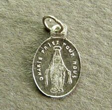 Small French Antique Sterling Silver Religious Pendant Our Lady of Victory Medal