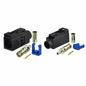 2-Pack Car Radio Fakra A Female Black Crimp Connector for RG316 RG174 Cable