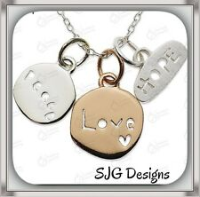 """"""" LOVE.  PEACE. HOPE """" Pendant- Silver & Rose Gold Plated -New"""