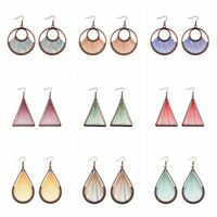 Fashion Hook Earrings Water Drop Tassels Colourful Bohemian Earrings For Women
