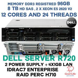 Dell R720 2x E5-2620V2 + 96Gb DDR3 R + 8TB SAS + H710 + 4x1GB LAN i350 + 2 POWER