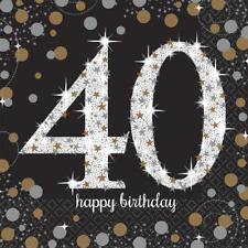 40. Geburtstag Party Servietten Amscan Motivservietten Tisch Deko Dekoration
