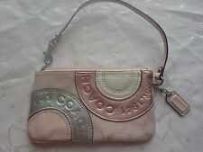 Coach Designer Purse, Pre-Owned Pink, white & silver pattern wristlet clutch