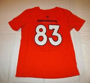 Denver Broncos #83 Wes Welker Orange T-Shirt NFL Brand Women's Large Cotton