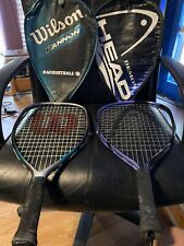 Lot of 2 HEAD and Wilson Fused Graphite Racquetball Racquets Rackets W/ Cases