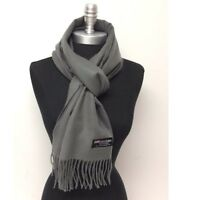 New 100%CASHMERE SCARF MADE IN SCOTLAND SOLID DESIGN SUPER SOFT UNISEX Dark Gray