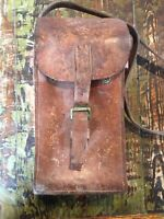 Antique Leather case box, tools or equipment storage. Western Props Decor.